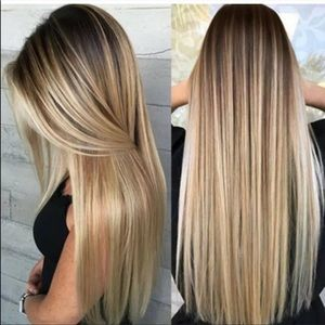 NEW blond Golding ombré silky straight long wig